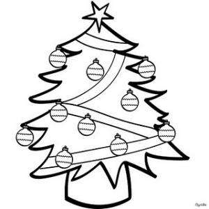 ภาพระบายสี ต้นคริสต์มาส Christmas Tree Little