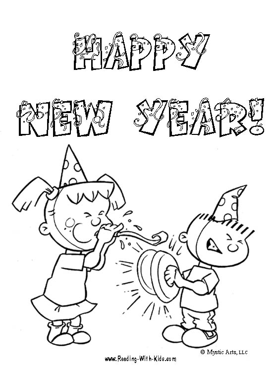 new year coloring pages for preschoolers | ภาพระบายสี : วันปีใหม่ [Happy New Year Coloring Page ...