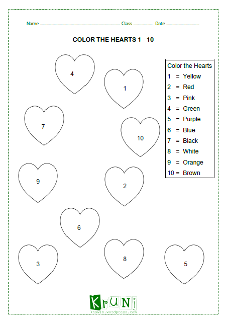 COLOR THE HEARTS 1-10